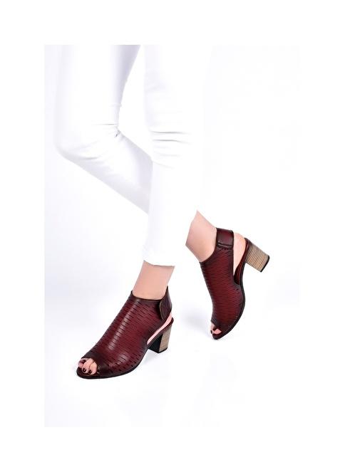 Sapin Kalın Topuklu Sandalet Bordo